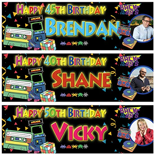 Personalised 1980s Themed Party Banners x 2. Available in large, small and choice of colours.