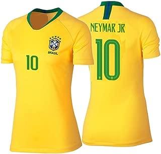Neymar #10 Brazil Women's Soccer Jersey Home Short Sleeve Adult Sizes