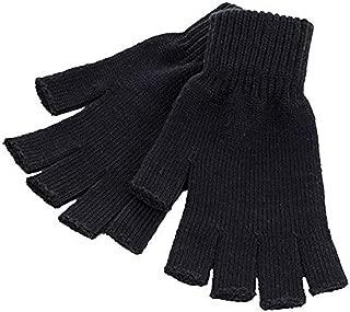 Unisex Men and Women Black Knit Gloves Fingerless and Regular
