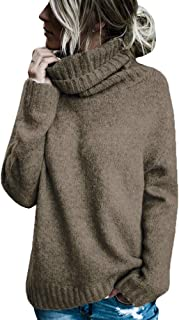 Womens Long Sleeve Turtleneck Sweaters Fleece Knitted Chunky Loose Cozy Pullover