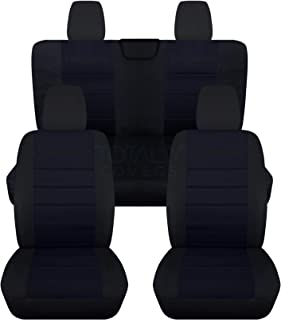 Totally Covers compatible with 2018-2020 Jeep Wrangler JL 2-Tone Seat Covers w Your Name/Text: Black & Navy Blue Full Set ...