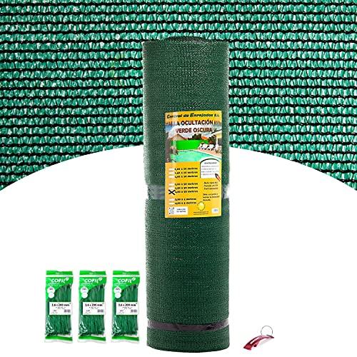 Bricolemar Kit Malla de Ocultación 85% (1 Rollo Verde de 2x50m) + Juego de 300 Bridas Nylon 200x3,6mm + Llavero Abrebotellas...