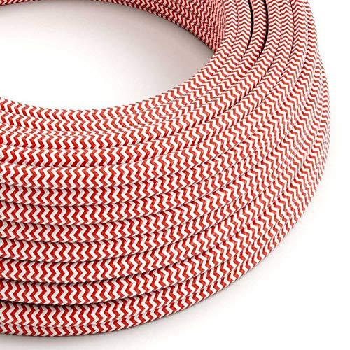 creative cables Fil Électrique Rond Gaine De Tissu De Couleur Effet Soie Zigzag Rouge RZ09-10 mètres, 3x0.75