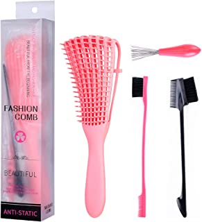 4 Pieces Detangling Brush Detangler, Edge Brushes and Comb Cleaner Brush, Hair Detangler for Grooming Afro America Textured 3a to 4c Wet/Dry Long Thick Natural Hair, for Home and Salon …