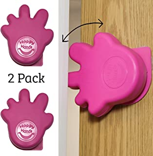 Happy Hands Anti Slam Child Door Safety Finger Trap Stoppers - 2 Pack … (Pink)