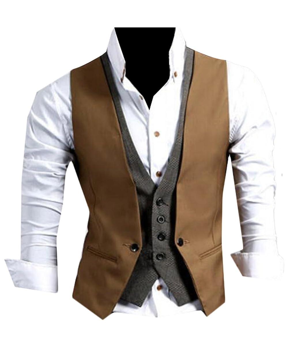 Generic Men's Casual V-neck Double Layered Vest Waistcoat Slim Jacke 2 XL