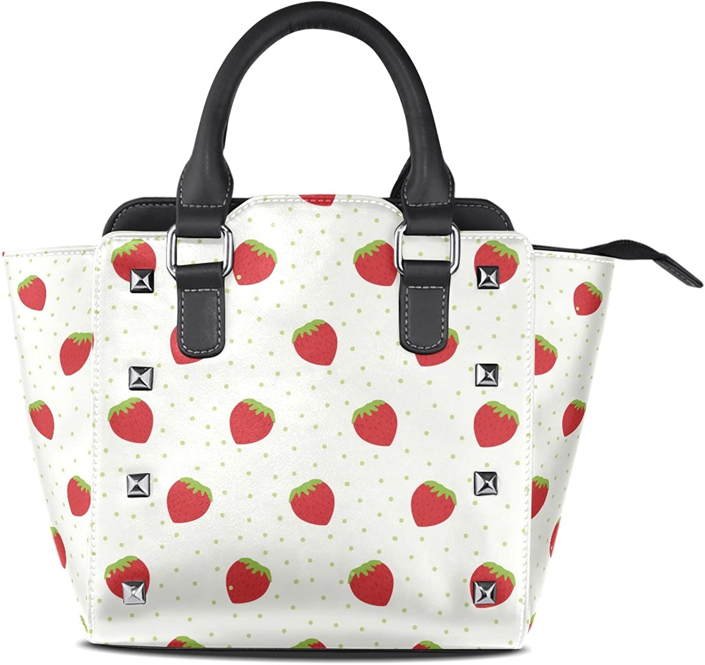 My Little Nest Women's Top Handle Satchel Handbag Strawberry Dots Print Ladies PU Leather Shoulder Bag Crossbody Bag