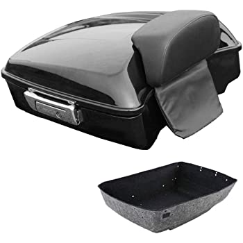 ECOTRIC Chopped Tour Pack Touring Pak Trunk Tail Box w//Top Rack For Harley Touring Models 2014-2020