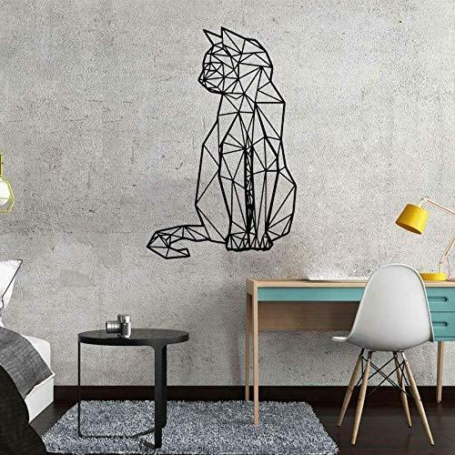 WERWN Gato Pegatinas de Pared geométricas habitación del bebé decoración del hogar Dormitorio de los niños vivero Tienda de Mascotas decoración de Interiores Vinilo Ventana calcomanía Arte