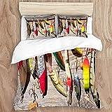 MOBEITI Juego de Ropa de Cama con Funda de edredón,Peces Rústicos Tablas Pesca Imprimir,de Almohada de Microfibra,220 x 240cm