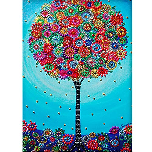 MXJSUA DIY 5D Special Shape Diamond Painting by Number Kit Crystal Rhinestone Round Drill Picture Art Craft Home Wall Decor 12x16In Flowers Tree
