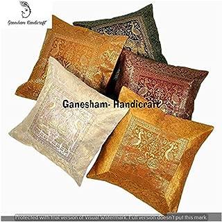 Indian Handmade Decorative Silk Brocade Zari Traditional Home & Living Room Decor Cushion Cover Vintage Pillowcases Hand Embroidered Ethnic Designer Boho Chic Bohemian Sofa Pillow Throw (5 Piece)