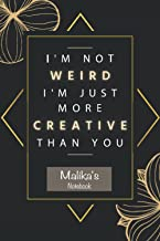 Malika's Notebook - I'm Not Weird I'm Just More Creative Than You: Personalised Name Journal for Malika  Pretty Lined Note...