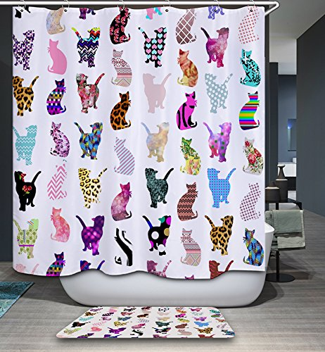 KISY Art Colorful Cat Silhouette Fabric Bath Shower Curtain Anti Mould Water Repellent Quick-Dry 180cm x 180cm for Bathroom With 12 Plactic Hooks