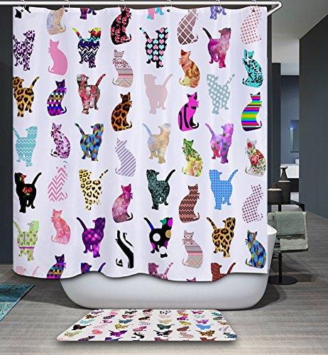 kisy Art Colorful Cat Silhouette Stoff Bad Duschvorhang Antischimmel-wasserabweisend Quick Dry 180cm x 180cm für Badezimmer mit 12Plactic Haken