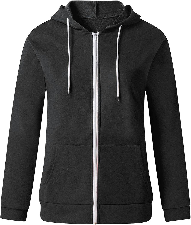 Zip Up Hoodie for Women, Fashion Full-Zip Sweatshirts with Pockets Casual Autumn Long Sleeve Shirt Lightweight Outerwear