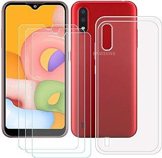 TTJ Transparent skal för Samsung Galaxy M01S [3 st] HD pansarglas, mobiltelefonfodral silikon skyddande fodral TPU fodral ...