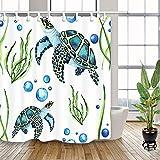 Beach Sea Turtles Shower Curtain, Nautical Ocean Marine Animals Turtle in Underwater Bath Curtain, Creature Turtle Teal Aquatic Plant Fabric Shower Curtain with Hooks for Bathrooom Decoration, 69X70in