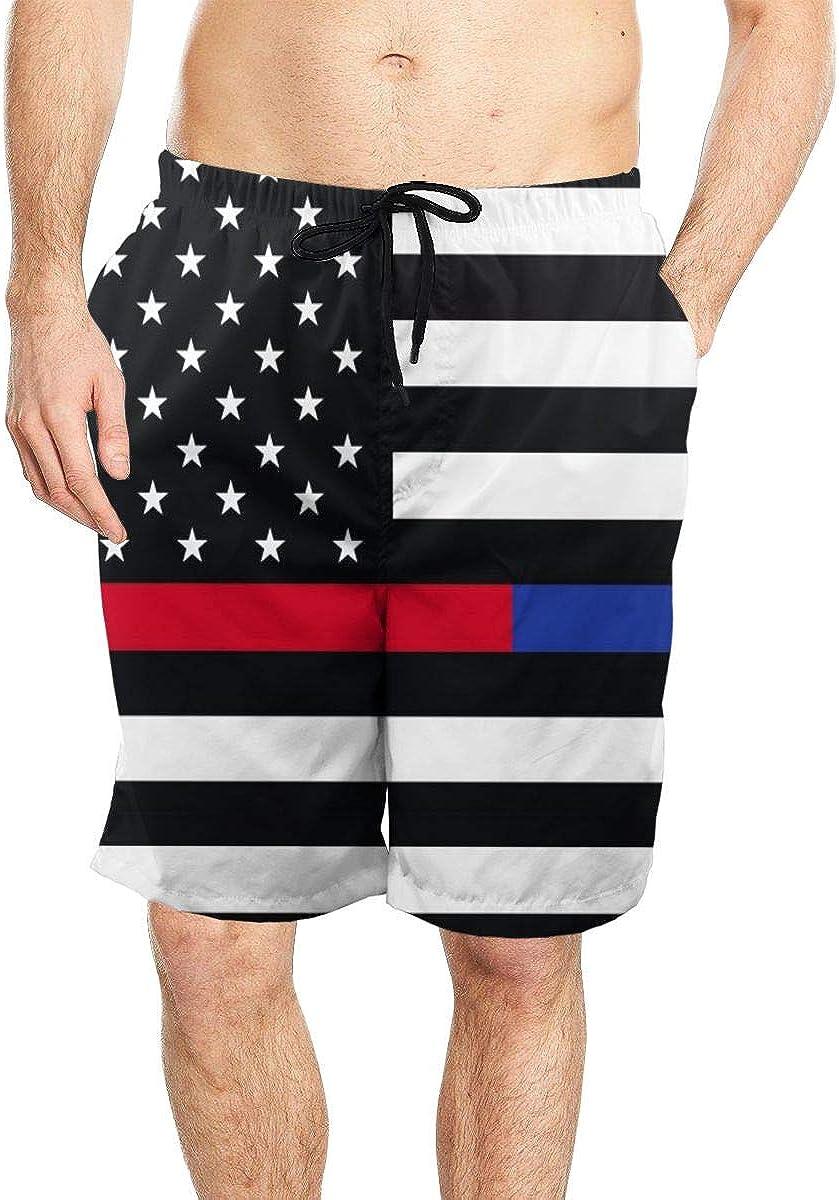 DASMUS Thin Blue Line Thin Red Line USA Flag Mens Drawstring Beach Board Shorts Swim Trunks with Mesh Lining