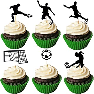 JeVenis Set of 24 Soccer Cupcake Toppers Soccer Ball Cupcake Toppers Football Cupcake Topper Sport Cake Decoration for Soccer Party Decorations Sports Party Decorations