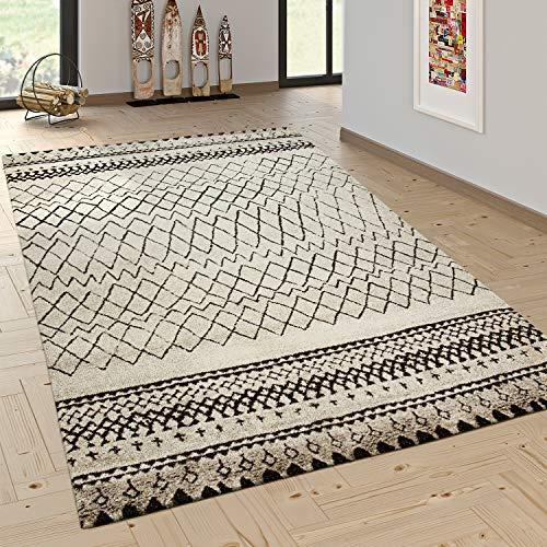 Paco Home Designer Teppich Modern Skandinavisch Trend Zick Zack Muster Schwarz Creme, Grösse:120x170 cm