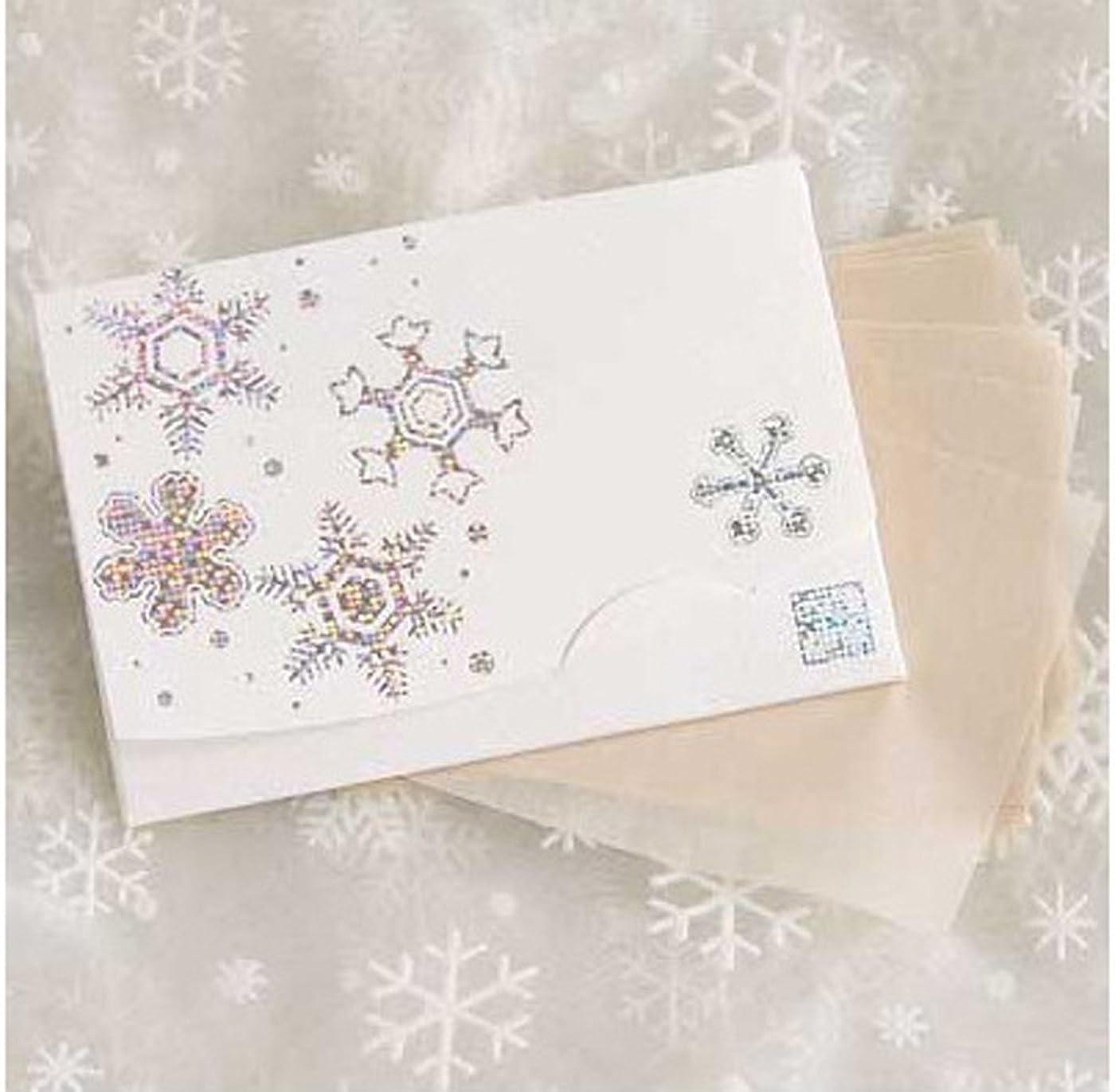 フェザー雨中で季節の花  きら雪 「絹すき」 短冊サイズ