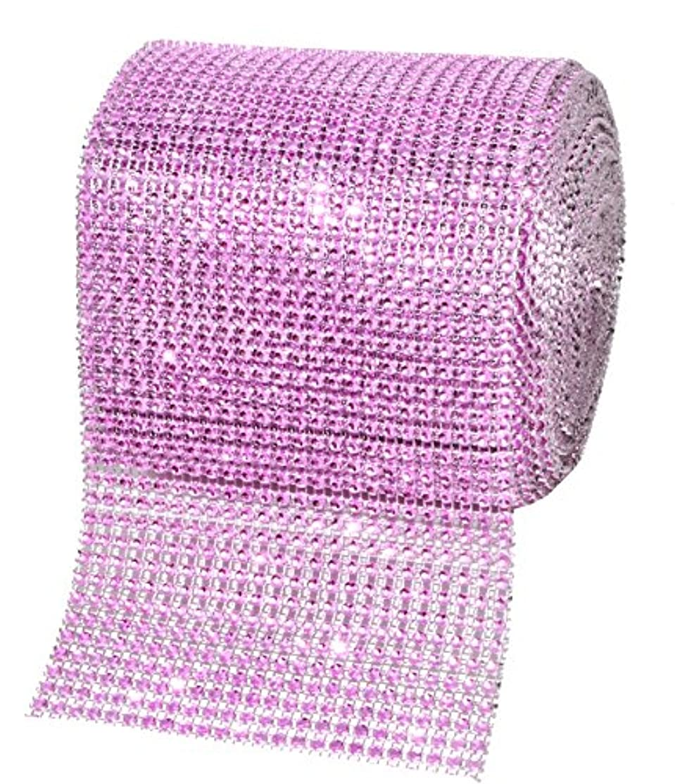 Mandala Crafts Faux Diamond Bling Wrap, Faux Rhinestone Crystal Mesh Ribbon Roll for Wedding, Party, Centerpiece, Cake, Vase Sparkling Decoration (4.75 Inches 24 Rows 10 Yards, Pink)