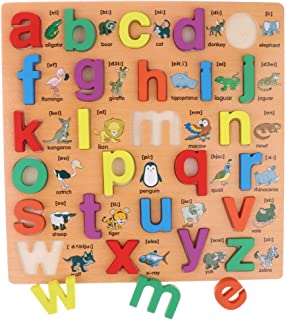 Homyl Wooden Lowercase Letters Alphabet Puzzle Board Toy for Teaching Aids