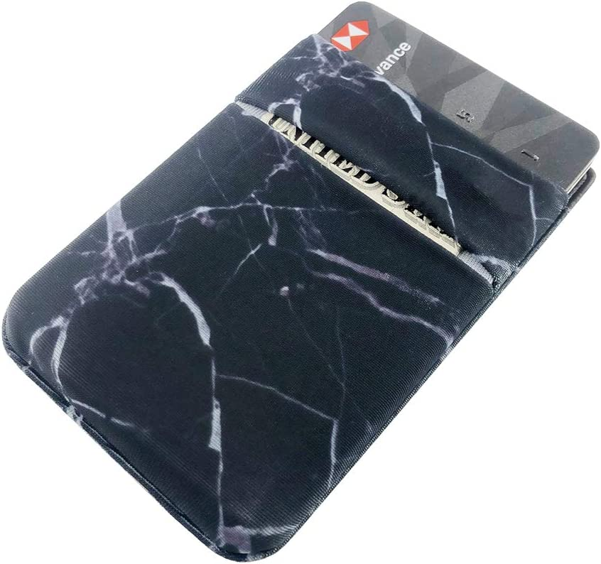 3 Pack Card Holder for Back of Phone, Stretch Card Sleeves,Stick on Wallet for Cell Phone Credit Card Holder Adhesive Sticker ID Case (Marble)