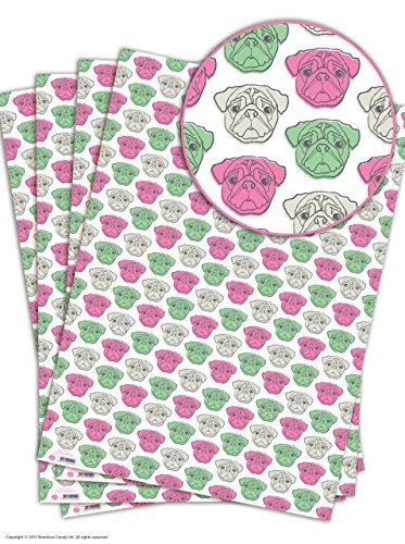 Witziges Geschenkpapier mit Mops-Motiv, 4 Sheets