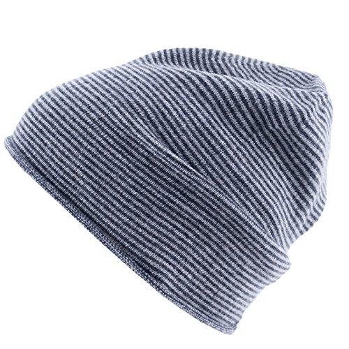 Really Nice Cashmere Eco Kaschmir Mütze - Curl Stripes Beanie Unisex Winter Strickmütze 100% Kaschmir Wolle Grau/Dunkelgrau