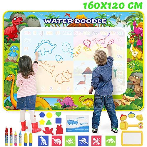 Wasser Doodle Matte 160 x 120cm XXXL, Aqua Magic Doodle Zeichnen Malmatte Kinder Doodle Groß mit 6 Magic Stifte und Stempelset, Wiederverwendbare Aqua Zeichnung Drawing Painting Matte für Baby Toddler