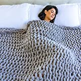ThrowStyle Large 50 x 60 Inches Crocheted 7lb Blanket - Machine Washable, Handwoven Soft, Cozy Chenille Blanket Tight-Knit Multi Use Breathable Boho Blankets and Throws for Your Home, Light Grey