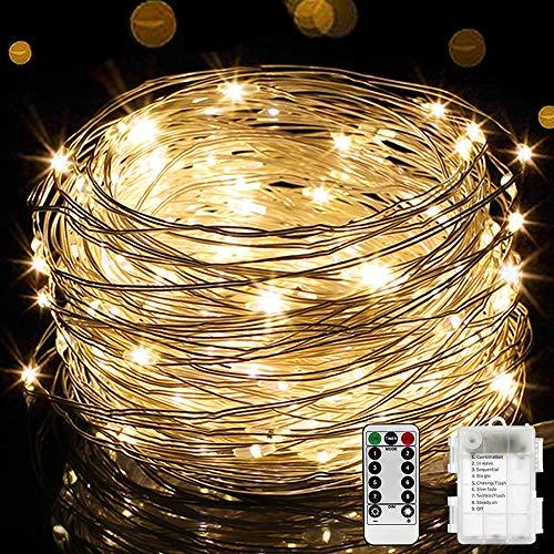 LED Lichterkette, 10M 100LEDs Wasserfest Lichterkette mit 8 Modi, Fernbedienung, Batteriebetriebene Weihnachten Lichterkette für Außen & Innen, Hochzeit, Party, Schlafzimmer, Warmweiß