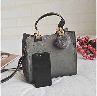 Well-made Hair Bag Frosted Sandbag Shoulder Bag Simple Small Square Bag Retro Shoulder Diagonal Girl Bag: 24 * 22 * ​​13cm Multiple carrying methods (Color : Gray)