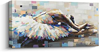 Boiee Art,32x32Inch White Dress Ballerina Girl Oil Painting Abstract Wall Art on Canvas for Modern Home Wall Decoration Contemporary Artwork Ballet Art Wood Inside Framed Ready to Hang