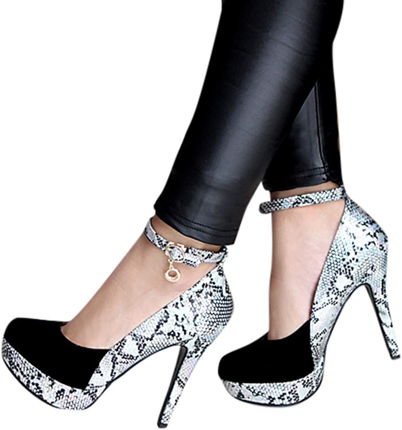Sexy Women's Silky Snakeskin Texture A-Line Buckle-Strap Super-High Heels Leather Earings Pants Stiletto shoes