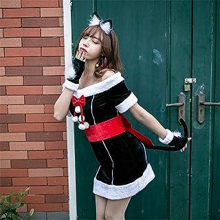 LOOKGOU クリスマス コスプレ いサイズ コスチューム レディース クリスマス サンタ サンタクロース衣装サンタ服 仮装 大人用 女性用 セクシー 可愛い華麗版グリーン ねこ