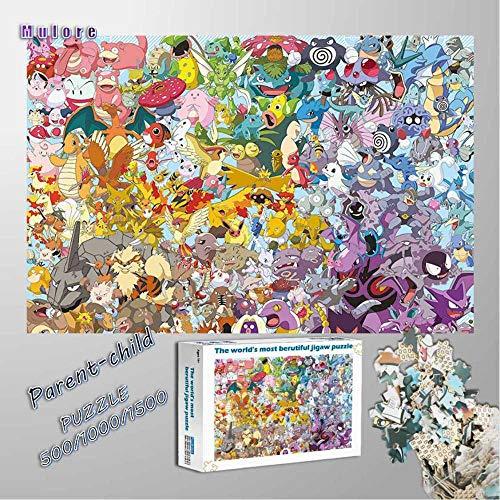 Mulore-Madera Rompecabezas Puzzle 1000 Piezas para Adultos Famiglia Padre-Hijo Juguete DIY Foto Relajado Ensamblaje Juego Regalo De Cumpleaños,Pokemon