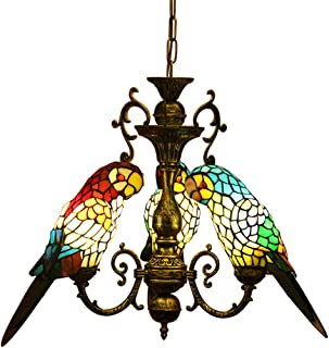 Makenier Vintage Tiffany Style Stained Glass Parrot Bird Shade Chandelier Ceiling Pendant Light + Antique Bronze Finish Fixture, Adjustable Chain, for Dining Room, Cafe, Bar