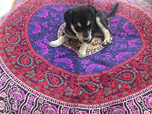 Ganesham - Cojín para perro indio, cojín bohemio, hecho a mano, puf otomano, funda de cojín de algodón mandala para mascotas camas para niños, puf gato cama Boho Decor (6 kam)