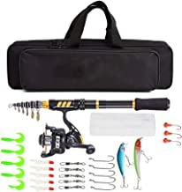 Telescopic Fishing Rods Reel Combo 100M Fishing Line Lures Hooks Jig Head Bag Accessories Full Kit Spinning Fish Pole Set