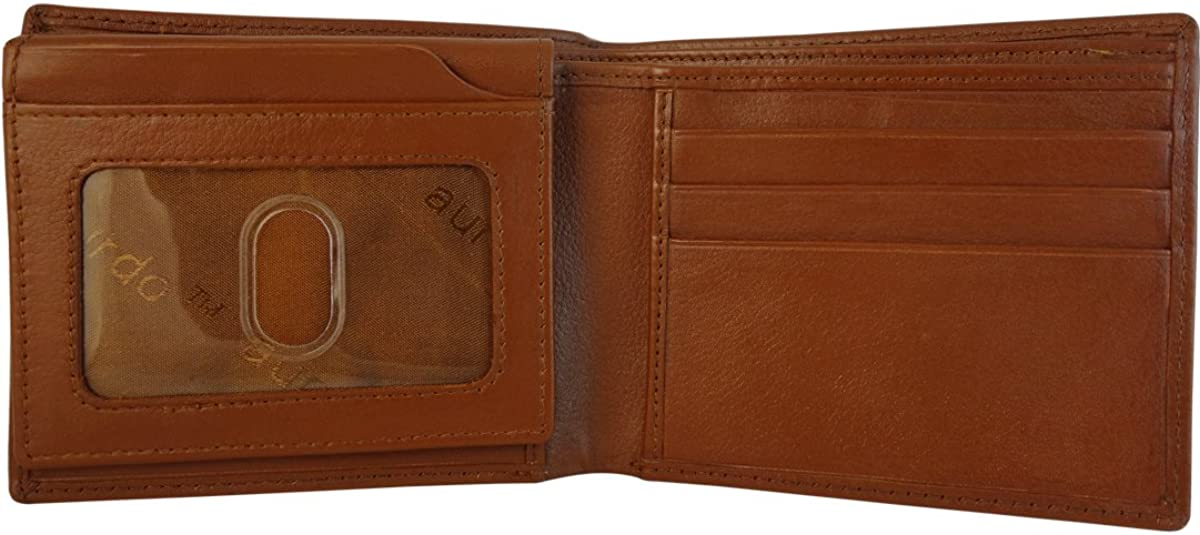 Mens Genuine Leather Bifold Wallet with 2 ID Window and RFID Blocking - Natural Grain Brown