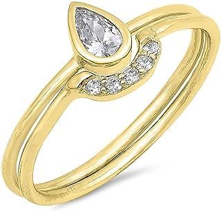 Glitzs Jewels 925 Sterling Silver CZ Ring (Clear/Teardrop Set, Yellow Gold Tone)   Cubic Zirconia Jewelry Gift