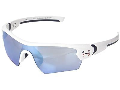 Under Armour Kids UA Tuned Baseball Menace (Little Kids/Big Kids) (Satin White/Navy Frame/Baseball Tuned Lens) Athletic Performance Sport Sunglasses