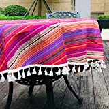 Amzali Vintage Bohemian Rainbow Tassel Tablecloth Cotton Linen Fabric Dust-Proof Table Cover Kitchen Dinning Tabletop Decoration (Round 60 inch)