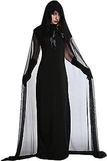 Blugibedramsh Women's Halloween Haunted Gostume Black Ghost Zombie Dress Cloak Hood Costumes