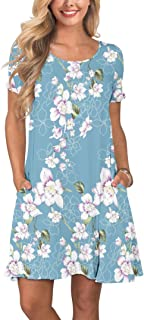 381aa3c32 KORSIS Women's Summer Casual T Shirt Dresses Short Sleeve Swing Dress with  Pockets