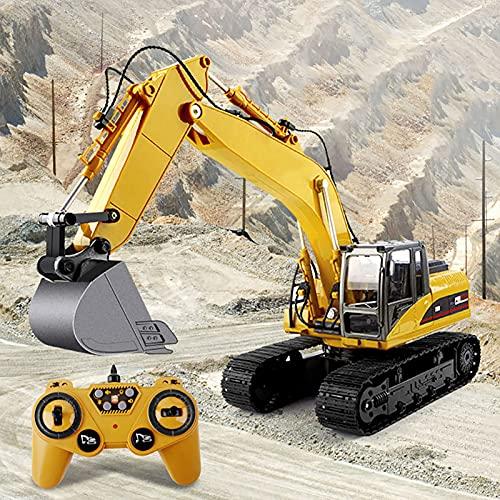 LGLE - Pala con mando a distancia para niños, juguete de 12 CH 690 ° con función de control remoto para vehículos de construcción a escala 1:20 con sonido y luz, tractor 2,4 GHz para regalo de niños