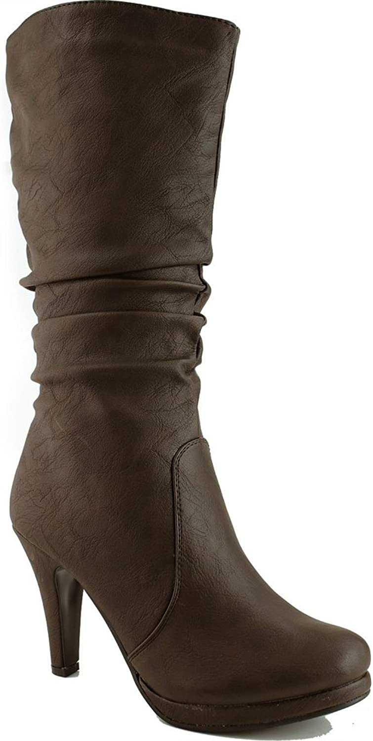 Top Moda Womens Page-43 Mid Calf Round Toe Slouched High Heel Boots
